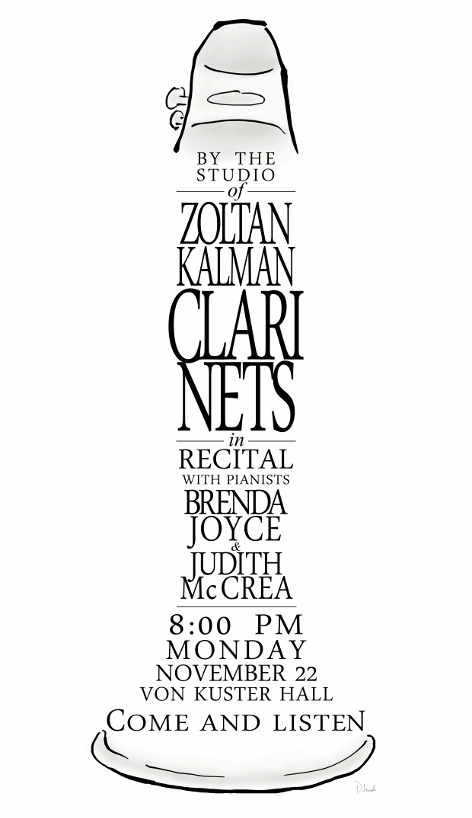 Clarinet-shaped poster for a recital